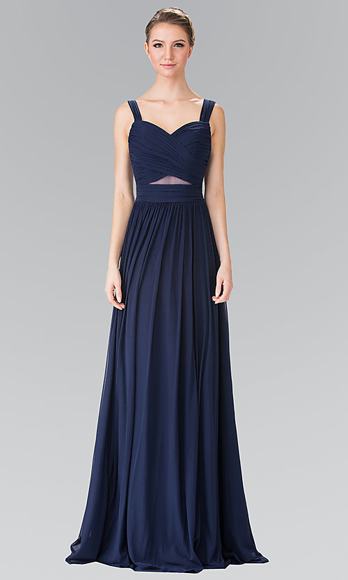 Image of long chiffon evening dress with sweetheart neckline. Style: FB-GL2366 Detail Image 2