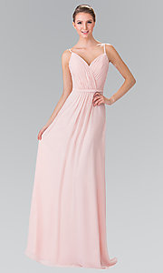 Chiffon Bridesmaid Dress with V-Neck Ruched Bodice