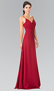 Image of chiffon bridesmaid dress with v-neck ruched bodice. Style: FB-GL2374 Detail Image 2