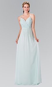 Image of chiffon bridesmaid dress with v-neck ruched bodice. Style: FB-GL2374 Detail Image 1