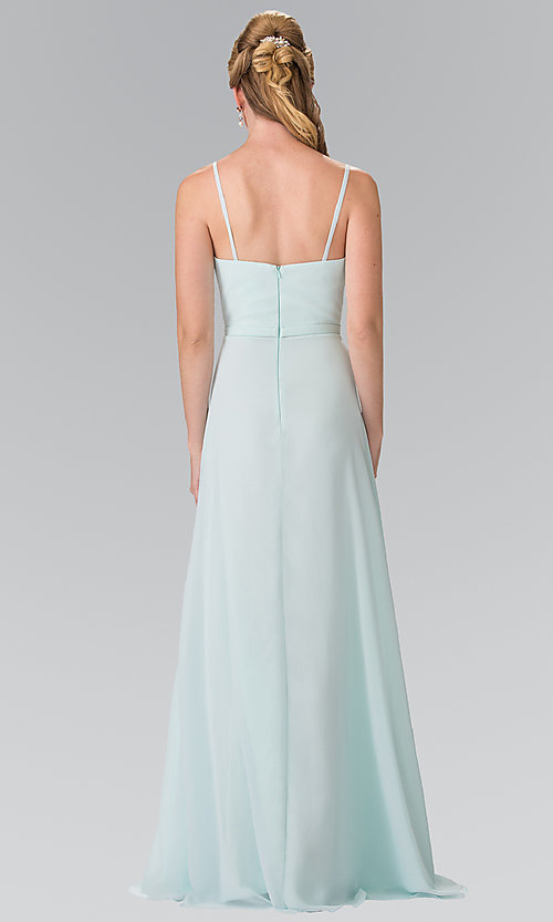 Image of chiffon bridesmaid dress with v-neck ruched bodice. Style: FB-GL2374 Back Image