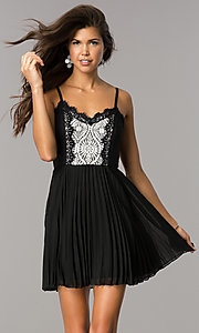 Image of short lace-bodice party dress with pleated skirt. Style: AS-i615950a1 Front Image