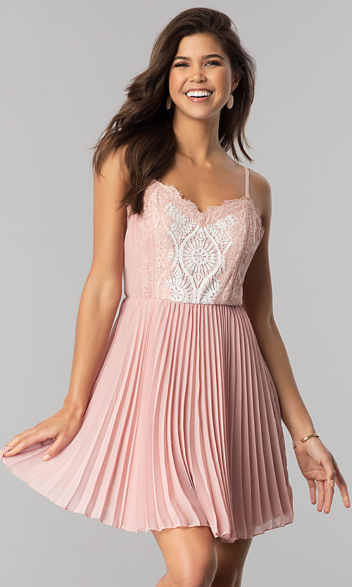 Image of short lace-bodice party dress with pleated skirt. Style: AS-i615950a1 Detail Image 1