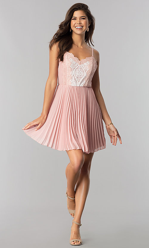 Image of short lace-bodice party dress with pleated skirt. Style: AS-i615950a1 Detail Image 3