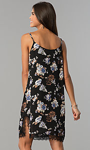 Image of short semi-casual black party dress with floral print. Style: AS-i710577a83 Back Image
