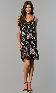 Image of short semi-casual black party dress with floral print. Style: AS-i710577a83 Detail Image 1