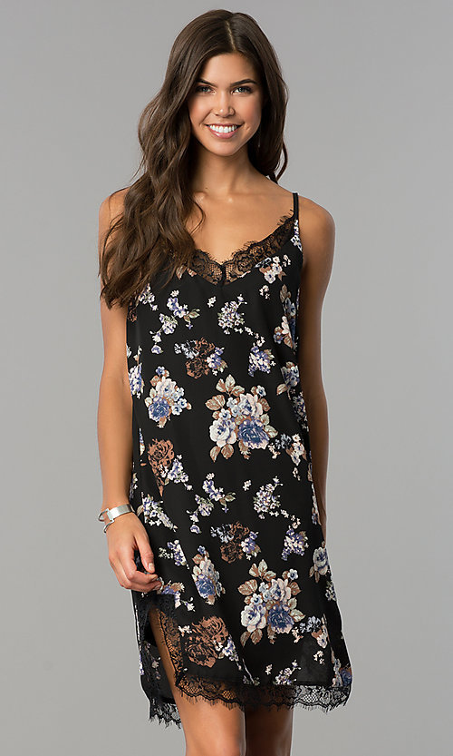 Image of short semi-casual black party dress with floral print. Style: AS-i710577a83 Front Image