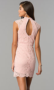 Image of rose pink short lace party dress with cap sleeves. Style: AS-i607956b99 Back Image