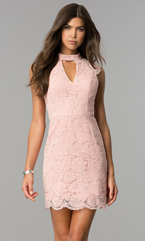 High-Neck Rose Pink Lace Short Party Dress - PromGirl