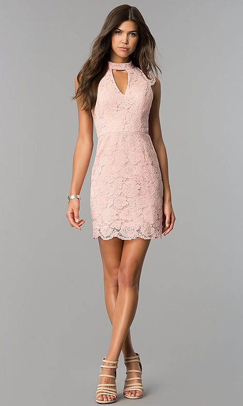 Image of rose pink short lace party dress with cap sleeves. Style: AS-i607956b99 Detail Image 1