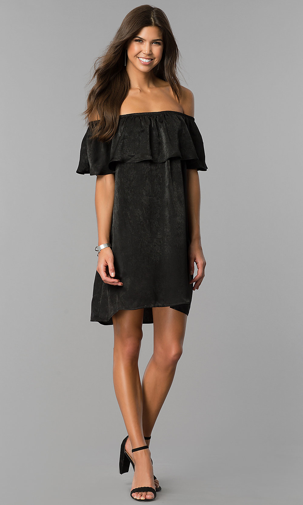 b1a6c3d14dd3 Image of short black party dress with off-the-shoulder ruffle. Style  Tap  to expand