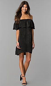 Image of short black party dress with off-the-shoulder ruffle. Style: AS-i751011a17 Detail Image 1