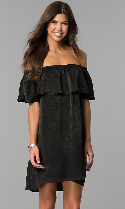 Image of short black party dress with off-the-shoulder ruffle. Style: AS-i751011a17 Front Image