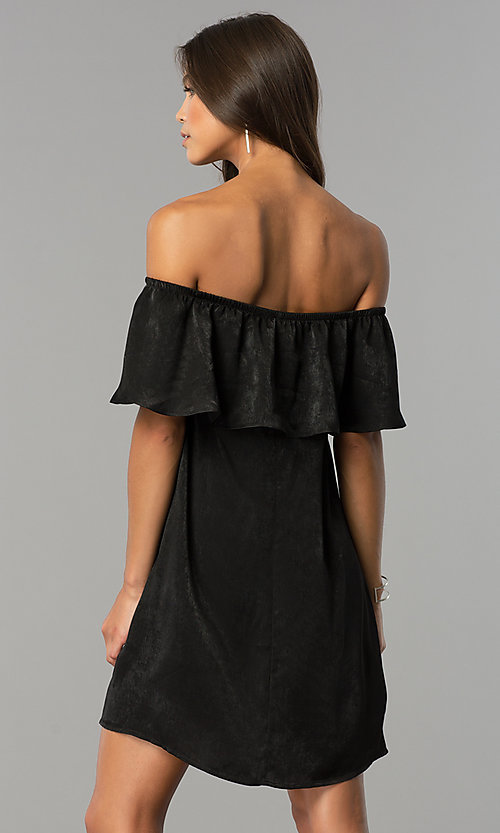 Image of short black party dress with off-the-shoulder ruffle. Style: AS-i751011a17 Back Image