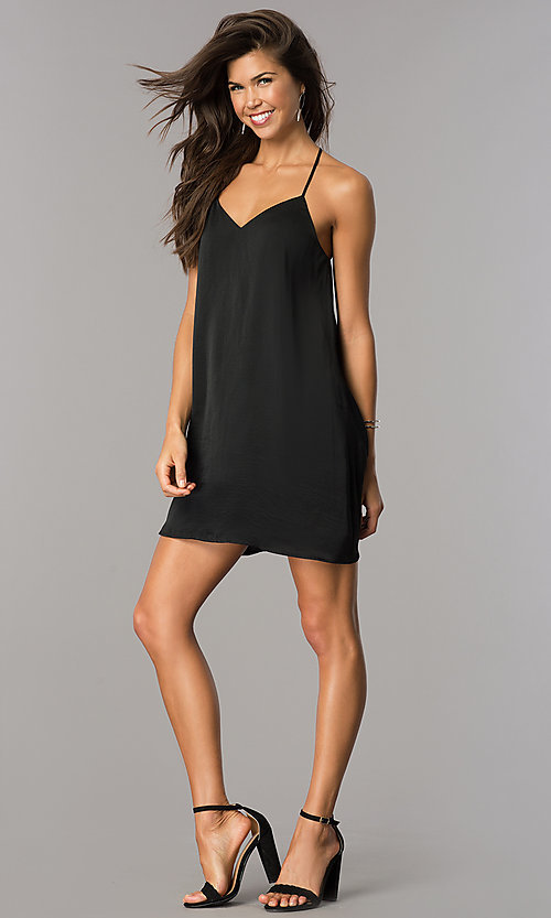 Image of short v-neck satin shift party dress with racerback. Style: AS-i752378q1 Detail Image 1