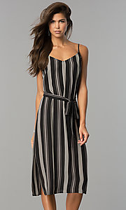 Casual Knee-Length Black and White Party Dress