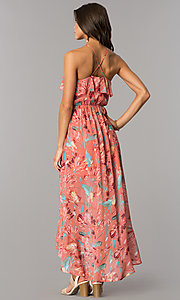Image of high-low casual party dress in mauve and coral print. Style: AS-a7277105 Back Image