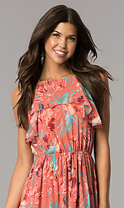 Image of high-low casual party dress in mauve and coral print. Style: AS-a7277105 Detail Image 1