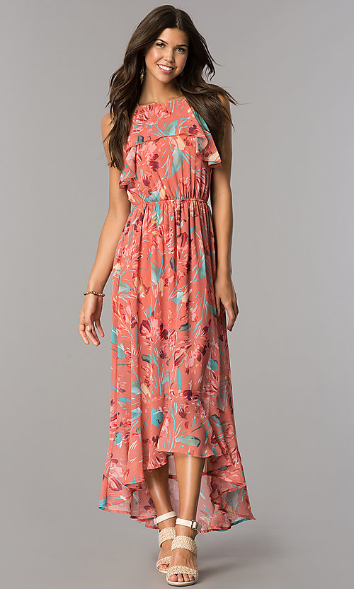 Image of high-low casual party dress in mauve and coral print. Style: AS-a7277105 Front Image