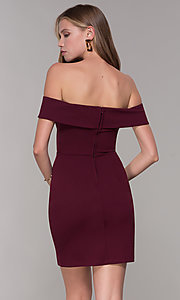 Image of wine red off-shoulder-collar homecoming dress. Style: SS-D68081DNE Back Image