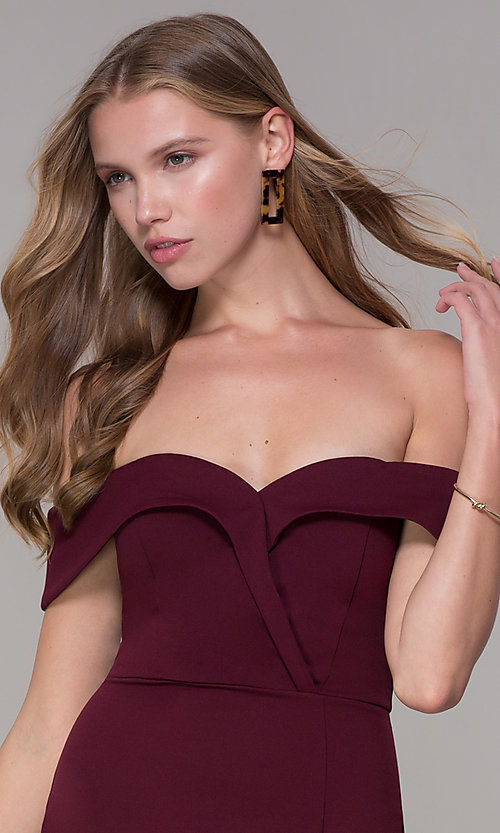Image of wine red off-shoulder-collar homecoming dress. Style: SS-D68081DNE Detail Image 1