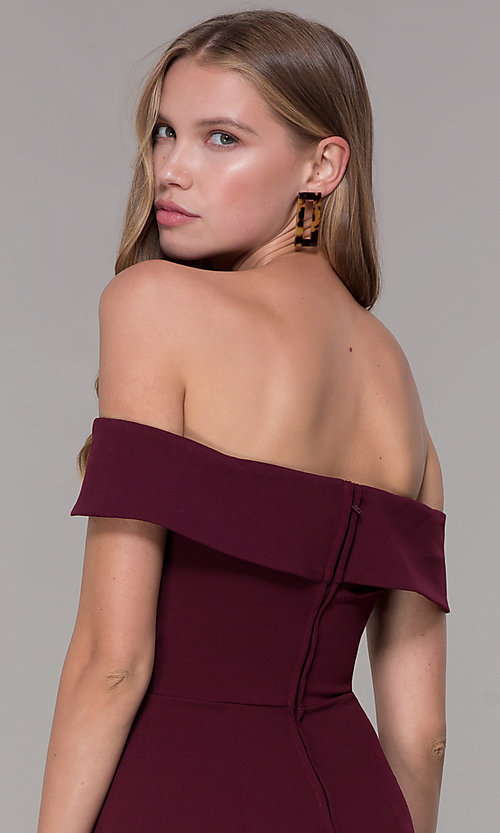 Image of wine red off-shoulder-collar homecoming dress. Style: SS-D68081DNE Detail Image 2