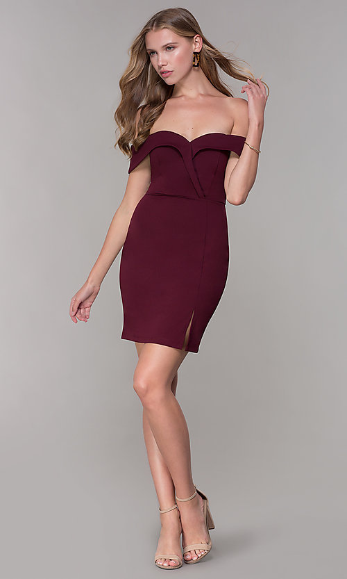 Image of wine red off-shoulder-collar homecoming dress. Style: SS-D68081DNE Detail Image 3