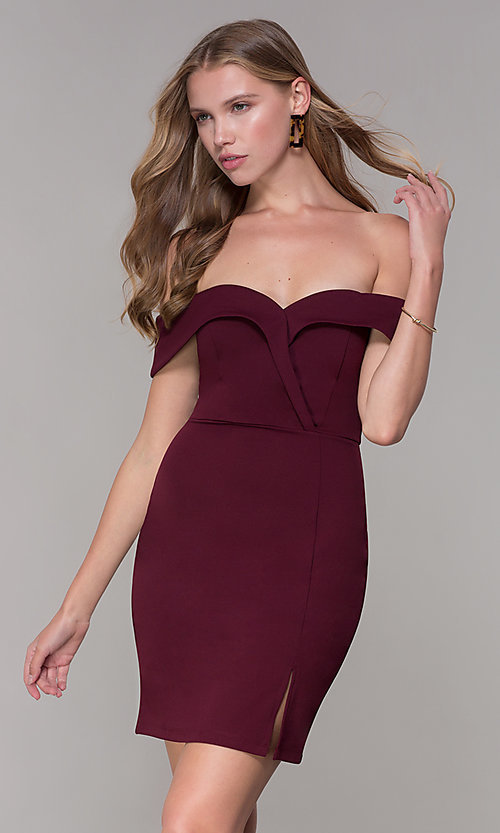Image of wine red off-shoulder-collar homecoming dress. Style: SS-D68081DNE Front Image