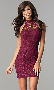 Image of junior-size lace homecoming dress with ladder back. Style: SS-D68791H664 Front Image