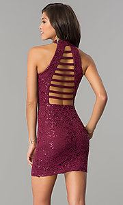 Image of junior-size lace homecoming dress with ladder back. Style: SS-D68791H664 Back Image