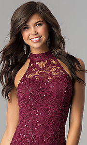 Image of junior-size lace homecoming dress with ladder back. Style: SS-D68791H664 Detail Image 1