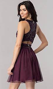 Image of eggplant purple short homecoming dress with sequins. Style: SS-X34303THV Back Image
