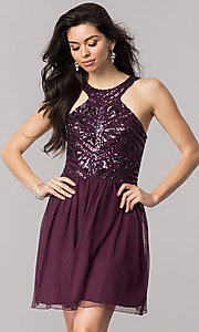 Eggplant Purple Short Homecoming Dress with Sequins