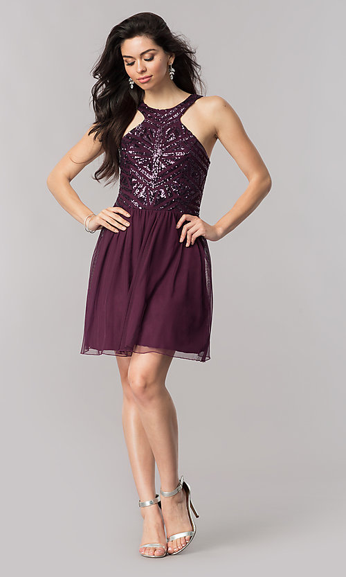 Image of eggplant purple short homecoming dress with sequins. Style: SS-X34303THV Detail Image 1