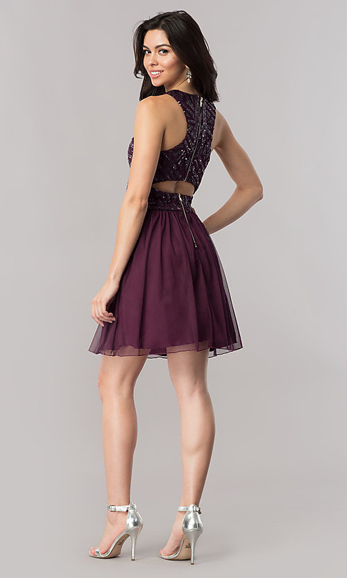 Image of eggplant purple short homecoming dress with sequins. Style: SS-X34303THV Detail Image 2