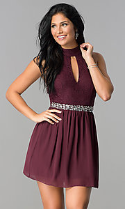 Image of raisin red short open-back homecoming dress. Style: SS-X35831H114 Front Image