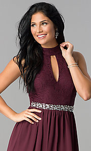 Image of raisin red short open-back homecoming dress. Style: SS-X35831H114 Detail Image 1
