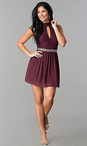 Image of raisin red short open-back homecoming dress. Style: SS-X35831H114 Detail Image 2
