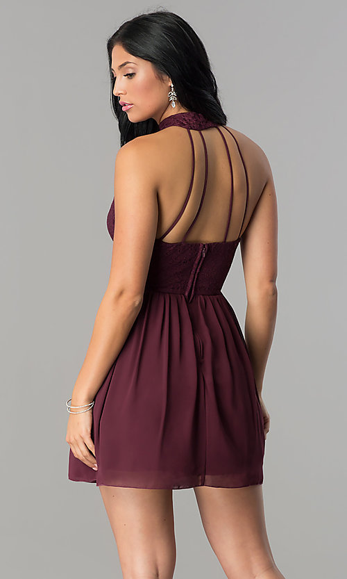 Image of raisin red short open-back homecoming dress. Style: SS-X35831H114 Back Image
