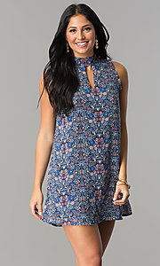 High-Neck Casual Cruise Print Shift Dress