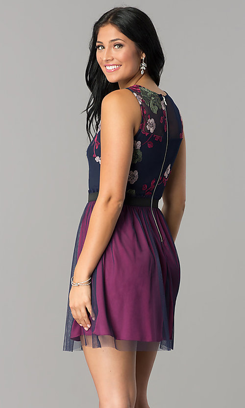 Image of short embroidered sage purple and navy party dress. Style: SS-JA86352TXT Back Image