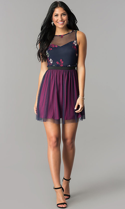 Image of short embroidered sage purple and navy party dress. Style: SS-JA86352TXT Detail Image 1