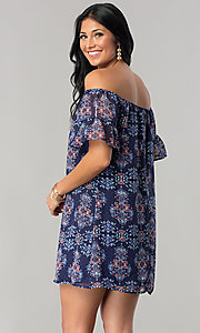 Image of short off-the-shoulder casual cruise shift dress. Style: SS-JA92421CB20 Back Image