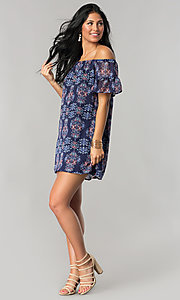 Image of short off-the-shoulder casual cruise shift dress. Style: SS-JA92421CB20 Detail Image 1
