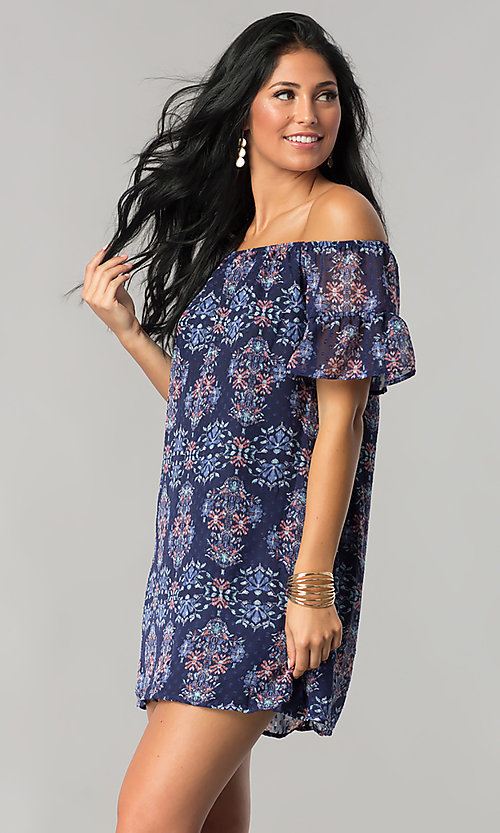 Image of short off-the-shoulder casual cruise shift dress. Style: SS-JA92421CB20 Front Image