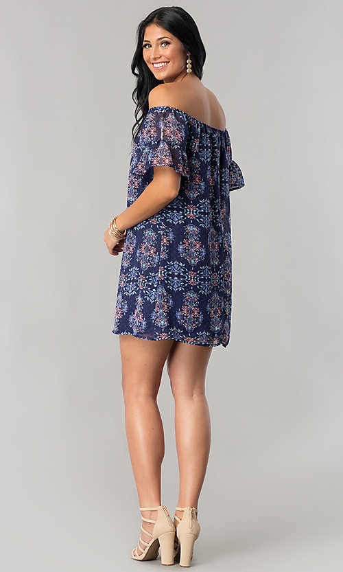 Image of short off-the-shoulder casual cruise shift dress. Style: SS-JA92421CB20 Detail Image 2