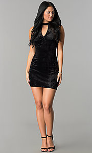 Image of short velvet black party dress with cut outs. Style: SS-D68931DVD Detail Image 3