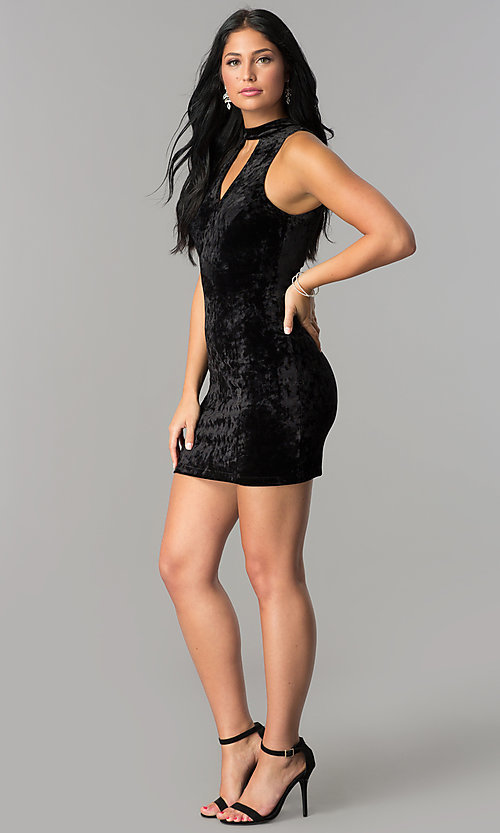 Image of short velvet black party dress with cut outs. Style: SS-D68931DVD Detail Image 2