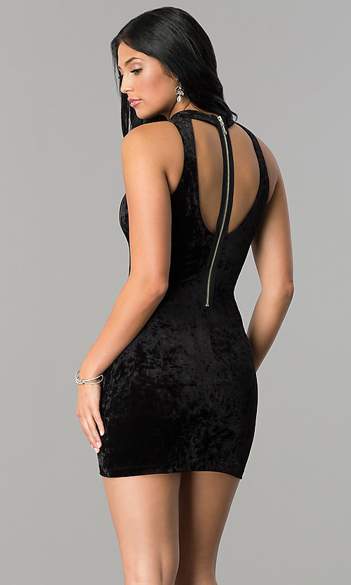Image of short velvet black party dress with cut outs. Style: SS-D68931DVD Back Image