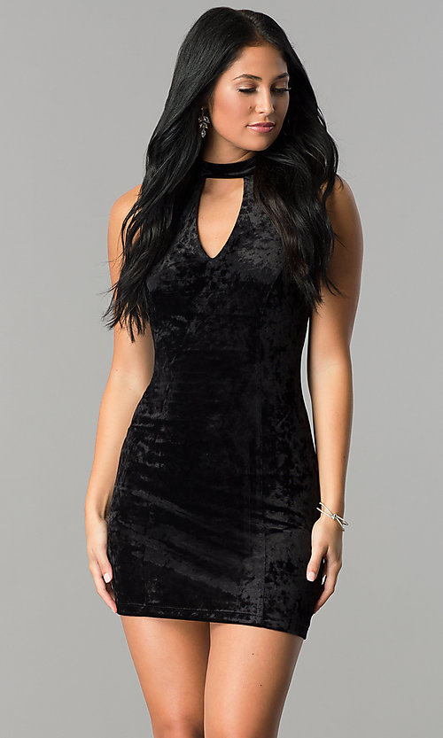Image of short velvet black party dress with cut outs. Style: SS-D68931DVD Front Image